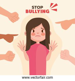 stop bullying and hands pointing at sad girl