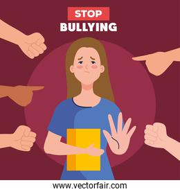 stop bullying and hands pointing at sad girl kid with book vector design