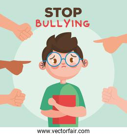 stop bullying and hands pointing at sad boy kid with book vector design