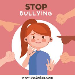 stop bullying and hands pointing at sad girl kid vector design