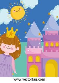 cute princess with crown and castle sunny day cartoon