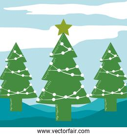 merry christmas trees with star and white balls decoration
