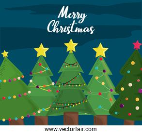 merry christmas trees greeting card decoration and celebration