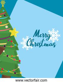 merry christmas trees with colored balls and snowflakes card