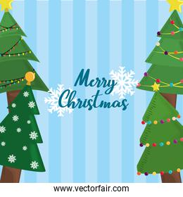 merry christmas trees snowflakes and blue stripes background