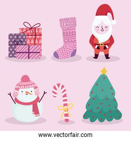 merry christmas icons set santa snowman candy cane sock gifts and tree
