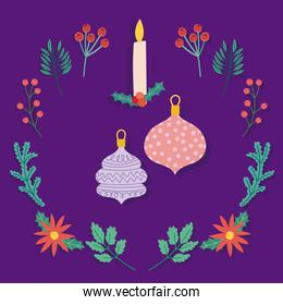merry christmas candle with balls branches berries decoration purple background