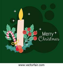 merry christmas candle with candy cane and holly berry card