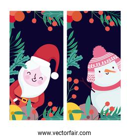 merry christmas cute santa snowman fruits and holly berry banners