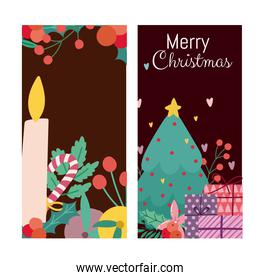 merry christmas candle tree gifts and branches banner