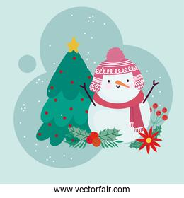 merry christmas cute snowman with tree and flower decoration