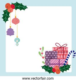 merry christmas gift boxes candy cane and hanging balls card
