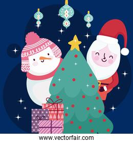 merry christmas cute santa and snowman with tree gifts and balls decoration