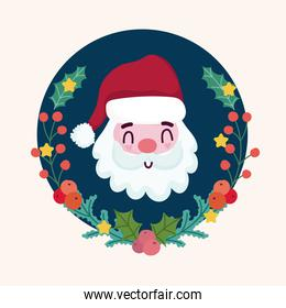 merry christmas wreath cute santa claus and holly berry