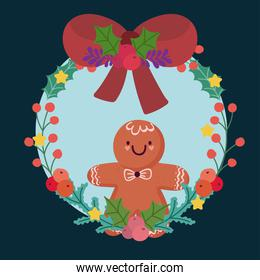 merry christmas gingerbread man in wreath bow holly berry decoration