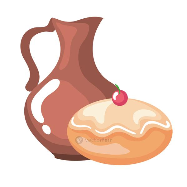 delicious jewish sweet donut with teapot