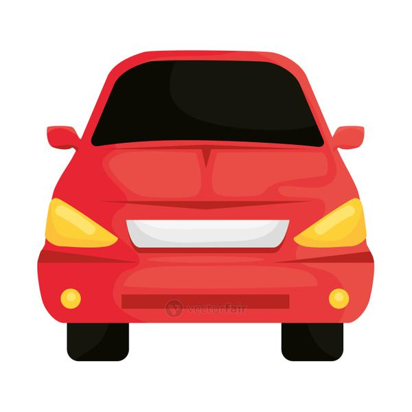 red car vehicle color front isolated icon