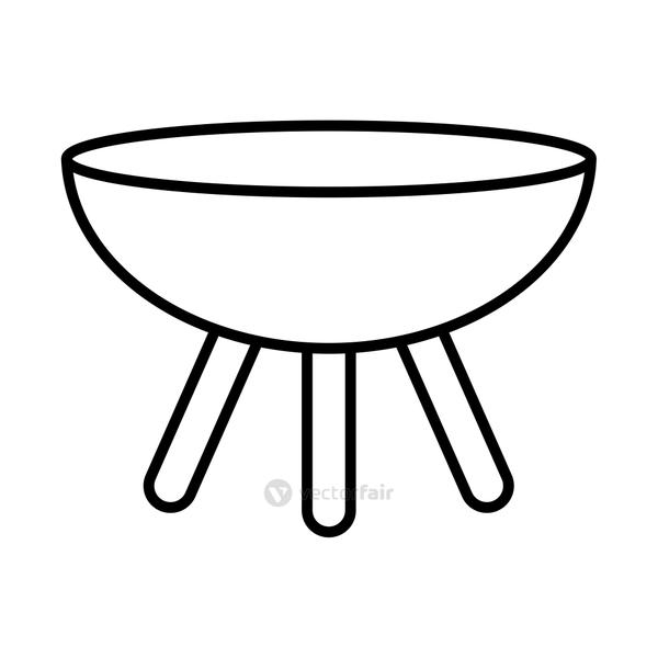 camping grill uitensil line style icon