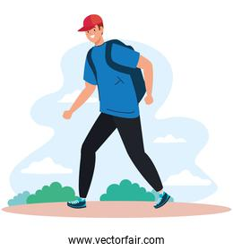 man with bag at park vector design