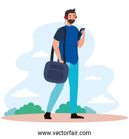 man with smartphone and bag at park vector design