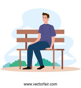 man sitting on bench at park vector design