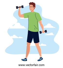 Man lifting weights in front of clouds vector design