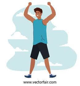 man with hands up and sportswear vector design