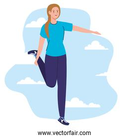 Woman avatar stretching in front of clouds vector design