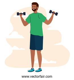 black man lifting weights in front of clouds vector design