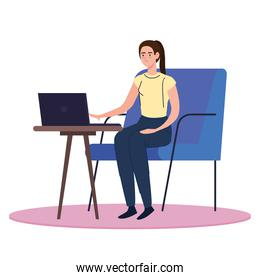 woman with laptop at desk working vector design