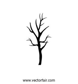 dry tree with branches silhouette style icon