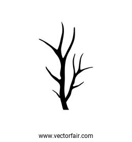dry tree with branches silhouette style