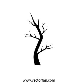 autumn dry tree with branches silhouette style icon