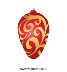 merry christmas ball decoration with branches pattern