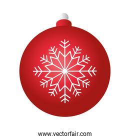 merry christmas red ball decoration with white snowflake
