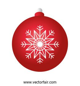 merry christmas red ball decoration with snowflake