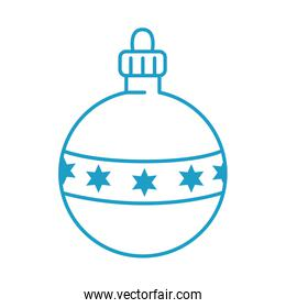merry christmas ball with stars line style