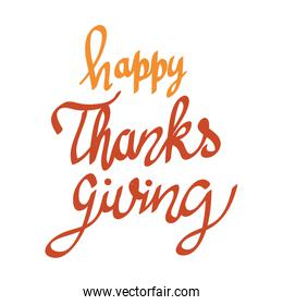happy thanksgiving lettering font icon