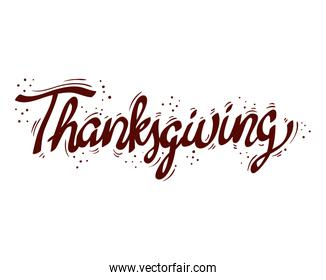 thanksgiving lettering font isolated icon