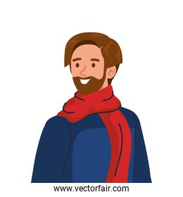 young man bearded wearing winter coat and scarf character