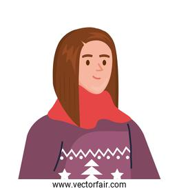 young woman wearing winter coat and scarf character