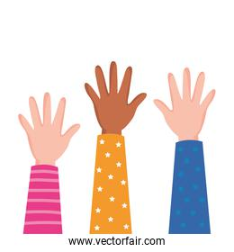 interracial hands up people icon