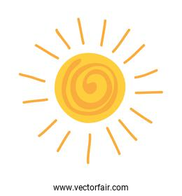 summer sun drawn isolated icon