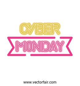 cyber monday sale lettering in ribbon frame