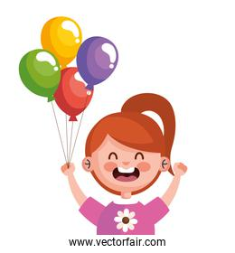 happy cute little girl redhead with balloons helium character