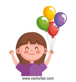 happy cute little girl with balloons helium character
