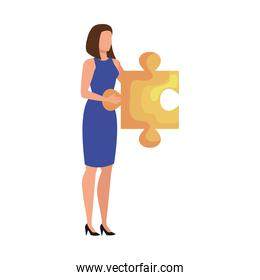 elegant business woman lifting puzzle piece avatar character