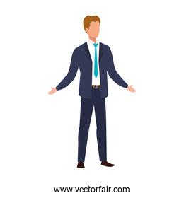 elegant business man with blue tie avatar character