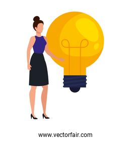 elegant business woman with bulb