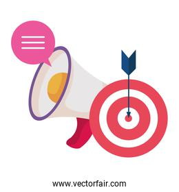 megaphone and target with arrow success icon